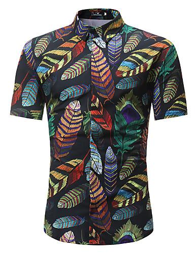お買い得  メンズシャツ-男性用 プリント プラスサイズ シャツ ベーシック / ボヘミアン スタンドカラー スリム フラワー / カラーブロック コットン ブラック XL