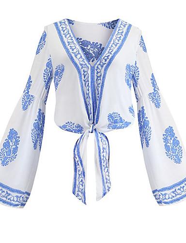 abordables Camisas y Camisetas para Mujer-Mujer Acordonado / Retazos / Jacquard Camisa Floral / Geométrico / Gráfico Arco Iris M