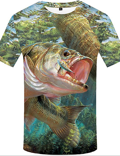 abordables T-shirts & Débardeurs Homme-Tee-shirt Grandes Tailles Homme, 3D Imprimé Col Arrondi Arc-en-ciel XXXL