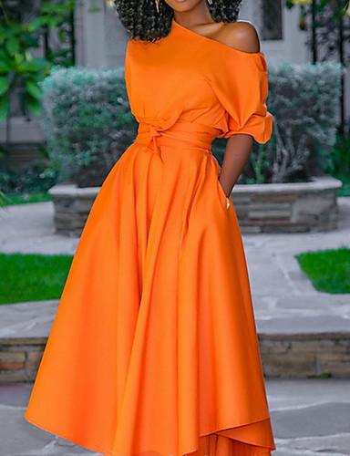 abordables Robes Femme-Femme Maxi Balançoire Robe Une Epaule Orange M L XL Manches Courtes