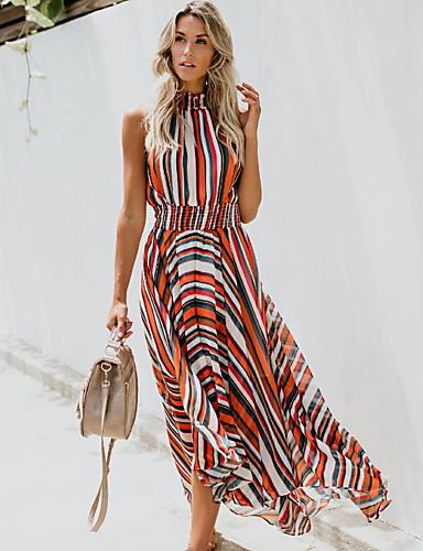 b9e42ed59280 Χαμηλού Κόστους Μακριά Φορέματα-Γυναικεία Swing Φόρεμα - Ριγέ