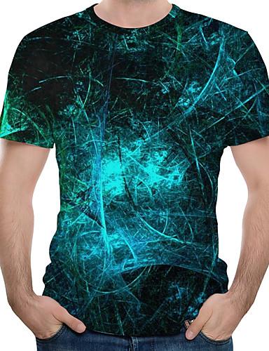voordelige Heren T-shirts & tanktops-Heren Print Grote maten - T-shirt Katoen 3D Ronde hals Marine Blauw / Korte mouw
