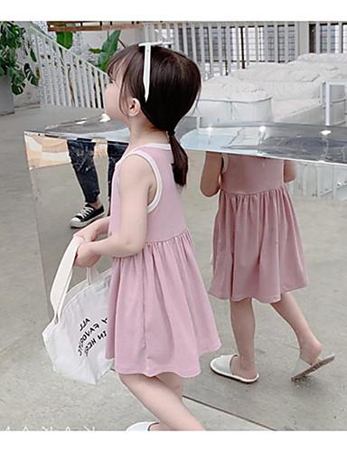 Bébé Fille Actif / Doux Couleur Pleine Sans Manches Mi-long Coton Robe Blanc