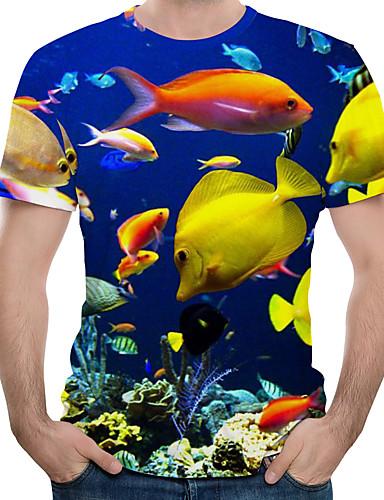 voordelige Heren T-shirts & tanktops-Heren Print EU / VS maat - T-shirt 3D / dier Ronde hals blauw