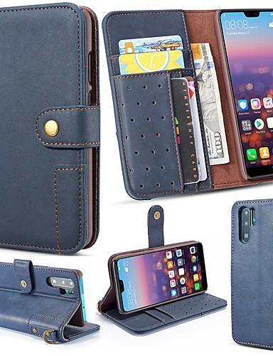 Case Kompatibilitás Huawei P20 Pro / Huawei P30 Lite Pénztárca / Kártyatartó / Állvánnyal Héjtok Egyszínű Kemény Valódi bőr mert Huawei P20 / Huawei P20 Pro / Huawei P20 lite