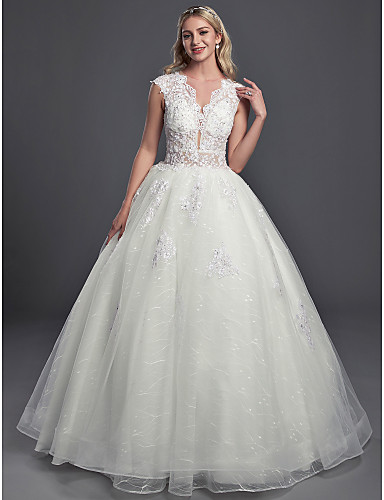 83cd35940 Ball Gown Illusion Neck Chapel Train Lace / Organza / Tulle Made-To-Measure Wedding  Dresses with Sequin / Buttons by LAN TING BRIDE®