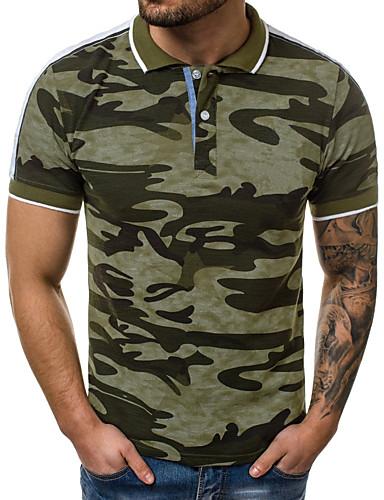 voordelige Herenpolo's-Heren Print Polo Katoen camouflage Overhemdkraag Slank Grijs