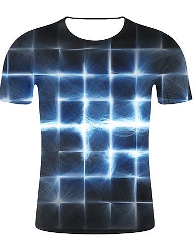 cheap Men's Tees & Tank Tops-Men's Plus Size Slim T-shirt - 3D / Plaid Print Round Neck Black XXL