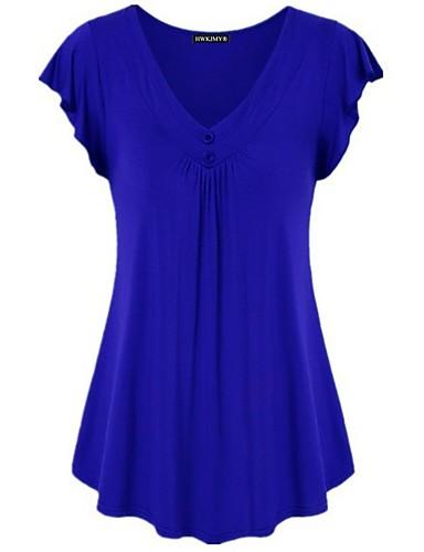 abordables Hauts pour Femme-Tee-shirt Grandes Tailles Femme, Couleur Pleine - Coton Basique / Elégant Col en V Ample Fuchsia