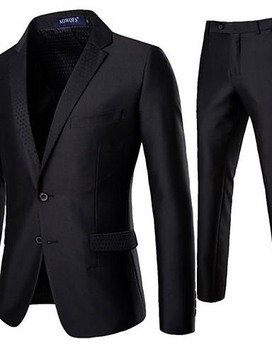 お買い得  メンズブレザー&スーツ-男性用 スーツ ショールラペル ポリエステル ブラック L / XL / XXL