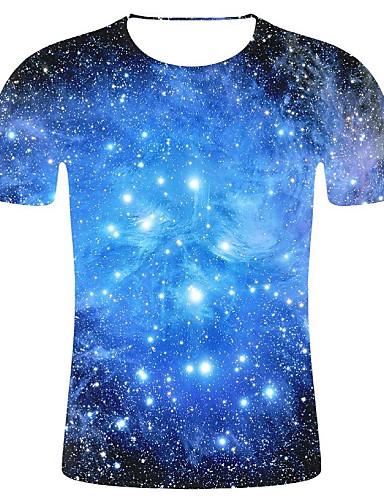cheap Men's Tees & Tank Tops-Men's 3D Print / Galaxy Plus Size Cotton T-shirt - Galaxy Print Round Neck Blue XXL