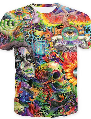voordelige Herenbovenkleding-Heren Print T-shirt 3D / Cartoon / Doodskoppen Klaver