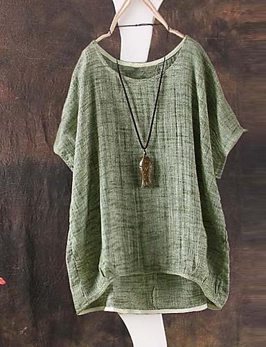 billige Dametopper-Løstsittende T-skjorte Dame - Ensfarget Grønn