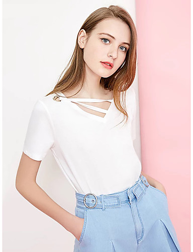 e2afcc105d5a Γυναικεία T-shirt Μονόχρωμο Με κοψίματα   Χιαστί   Με Κορδόνια Λευκό L
