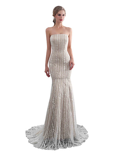 abordables robe mariage civil-Trompette / Sirène Sans Bretelles Traîne Tribunal Dentelle Robes de mariée sur mesure avec par LAN TING Express