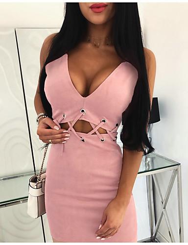 Kadın's Temel Zarif Bandaj Kılıf Elbise - Solid, Arkasız Şalter Mini