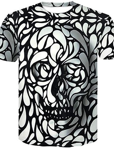 abordables Grandes Tailles Homme-Tee-shirt Grandes Tailles Homme, 3D / Crânes - Coton Col Arrondi Mince Blanc XXL