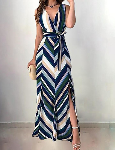 b277f8fdd04 cheap Maxi Dresses-Women  039 s Elegant A Line Dress - Striped Blue