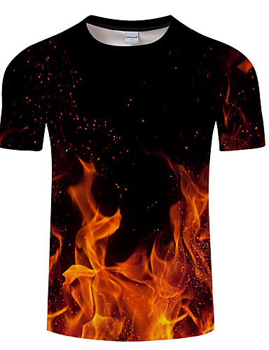 voordelige Herenbovenkleding-Heren Print T-shirt Geometrisch / 3D / Grafisch Zwart