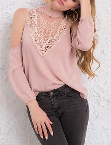 povoljno Ženske majice-Bluza Žene - Slatka Style Jednobojni / Color block Kratka ogrlica Čipka / Kolaž / Čipka Trim Dusty Rose Blushing Pink