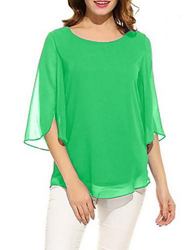 billige Dametopper-T-skjorte Dame - Ensfarget, Chiffon Fuksia / Vår / Sommer / Høst / Vinter