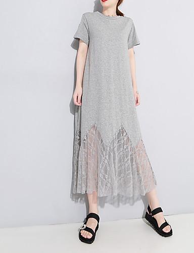 baratos Vestidos Longos-Mulheres Temática Asiática Reto Túnicas Vestido - Renda Patchwork Guarnição do laço, Sólido Longo