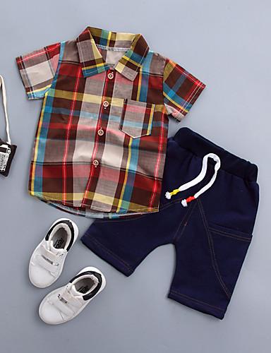 voordelige Uitverkoop-Baby Jongens Standaard Print Korte mouw Normaal Normaal Katoen Kledingset Oranje / Peuter