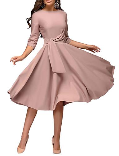 hesapli Vintage Kraliçesi-Kadın's Temel Zarif Kılıf Çan Elbise - Solid, Kırk Yama Büzgülü Diz-boyu