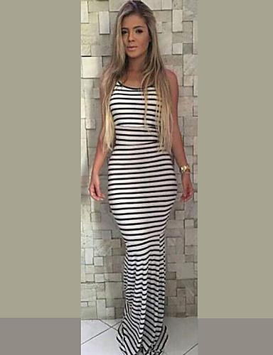 voordelige Maxi-jurken-Dames Standaard Bodycon Schede Jurk - Gestreept Maxi