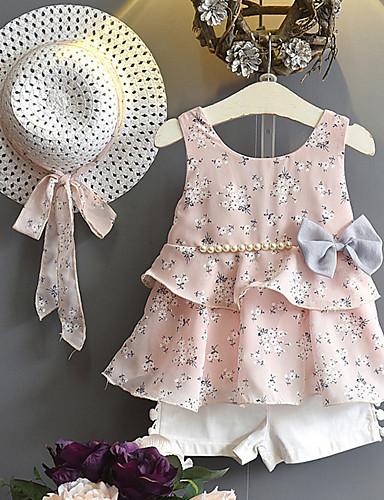 Děti / Toddler Dívčí Aktivní / Cikánský Jednobarevné / Puntíky Mašle / Volány Bez rukávů Standardní Standardní Bavlna / Spandex Sady oblečení Světlá růžová