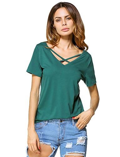 b5c44d636976 Γυναικεία T-shirt Μονόχρωμο Χιαστί Πράσινο του τριφυλλιού L