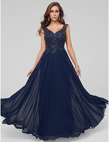 314ec0fc19ff Γραμμή Α Λαιμόκοψη V Μακρύ Δαντέλα   Τούλι Επίσημο Βραδινό Φόρεμα με Διακοσμητικά  Επιράμματα   Εισαγωγή δαντέλας με TS Couture®