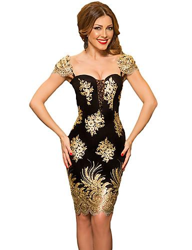 abordables Robes Femme-Femme Elégant Mi-long Mince Gaine Robe - Brodée, Fleur U Profond Noir S M L Manches Courtes