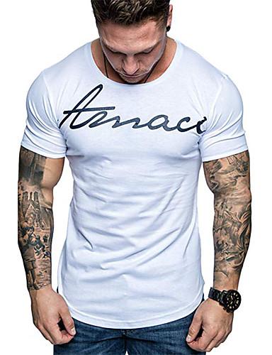 voordelige Heren T-shirts & tanktops-Heren Print EU / VS maat - T-shirt Katoen Letter Ronde hals Zwart