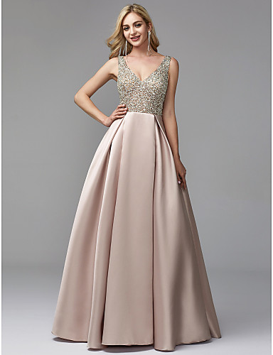 A-Line V Neck Floor Length Satin / Sequined Prom / Formal Evening Dress with Beading by TS Couture®