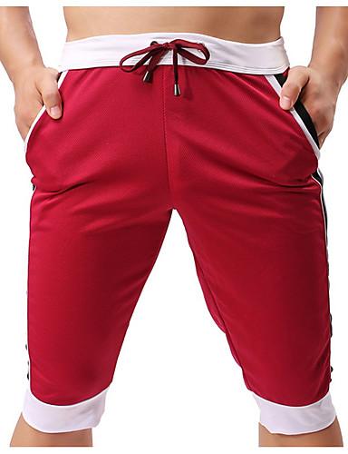 お買い得  メンズパンツ&ショーツ-男性用 ベーシック チノパン パンツ - 多色 / カラーブロック ネイビーブルー イエロー ライトブルー L XL XXL