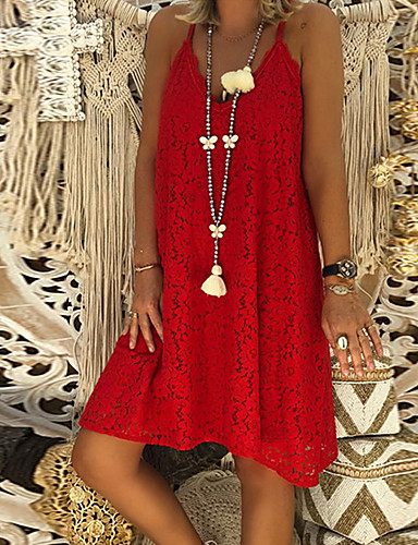 9888727f8a baratos Vestidos de Mulher-Mulheres Reto Vestido - Renda