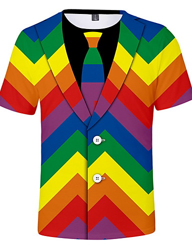 cheap 7/16-Men's Daily Wear T-shirt - Color Block Round Neck Rainbow XL / Short Sleeve