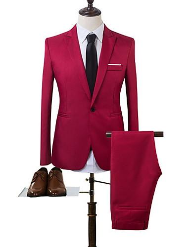 ราคาถูก เสื้อคลุมบุรุษ-สำหรับผู้ชาย ชุด, สีพื้น คอเสื้อเชิ้ต เส้นใยสังเคราะห์ สีฟ้า / สีกากี / สีน้ำเงินกรมท่า XL / XXL / XXXL