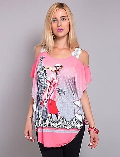 billige Dametopper-T-skjorte Dame - 3D / Tegneserie, Blonde / Lapper / Trykt mønster Gatemote / Punk & Gotisk Grønn XXXL