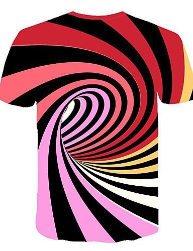 b68dd2170f35 Men's Daily Club Basic / Street chic T-shirt - Striped / 3D Black & White, Print  Round Neck White XXL / Short Sleeve / Summer #06748588