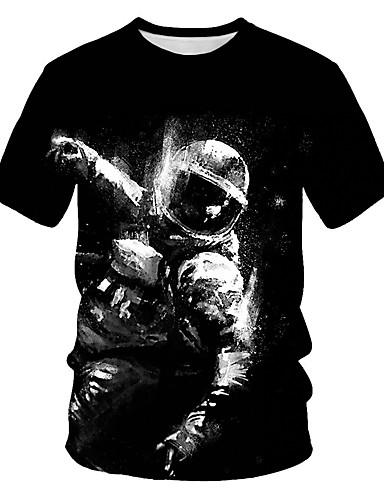 cheap Men's Clothing-Men's Daily Wear Street Basic / Punk & Gothic EU / US Size T-shirt - Color Block / 3D / Cartoon Print Round Neck Black / Short Sleeve