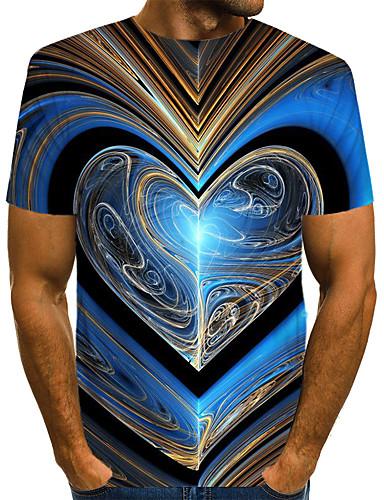 voordelige Uitverkoop-Heren Street chic / overdreven Print EU / VS maat - T-shirt Club Kleurenblok / 3D / Grafisch Ronde hals blauw / Korte mouw