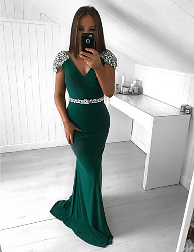 cheap Designers' Originals-Mermaid / Trumpet Plunging Neck Sweep / Brush Train Jersey Formal Evening Dress with Beading / Sash / Ribbon by JUDY&JULIA
