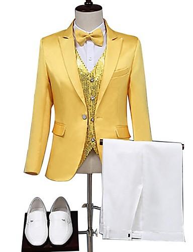 voordelige Herenblazers & kostuums-Heren EU / VS maat Pakken Sjaalrevers Polyester Geel