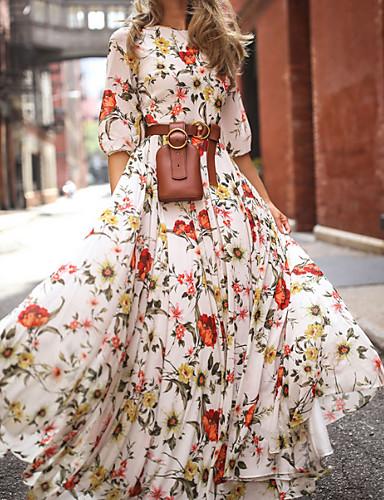 povoljno Haljine većih brojeva-Žene Swing kroj Haljina - Print, Cvjetni print Maxi