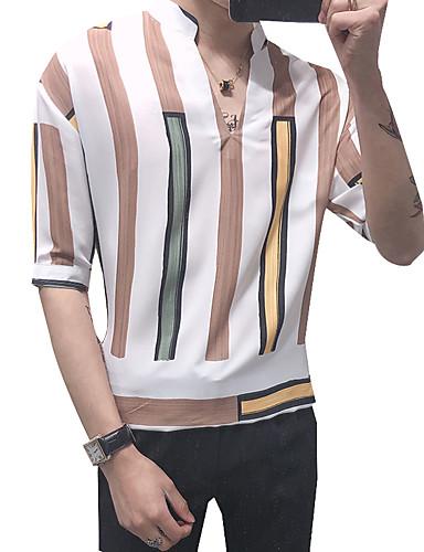 פסים / גיאומטרי צווארון עומד(סיני) סגנון רחוב / אלגנטית חולצה - בגדי ריקוד גברים דפוס לבן / שרוול ארוך