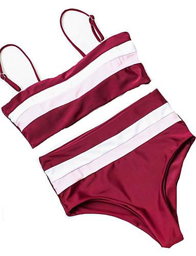 voordelige Nieuwe collectie-Dames Standaard Wijn Leger Groen Marineblauw Bandeau Hoge taille Bikini Zwemkleding - Effen S M L Wijn