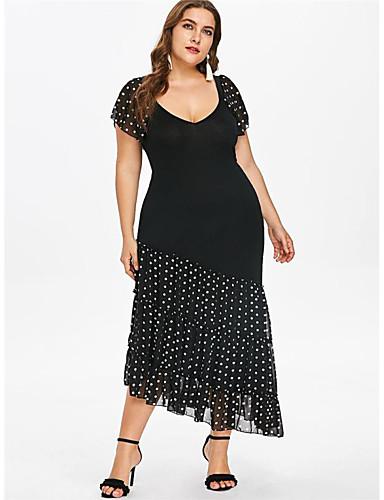 voordelige Grote maten jurken-Dames Elegant Chiffon Jurk - Polka dot, Print Midi