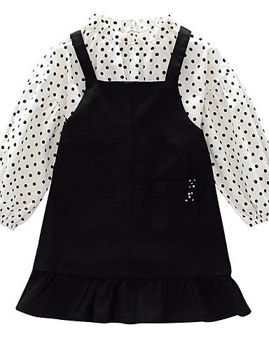 סט של בגדים שרוול ארוך קפלים מנוקד בסיסי בנות ילדים